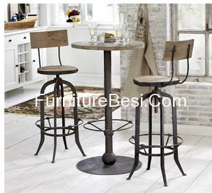 American French wrought iron bar chairs