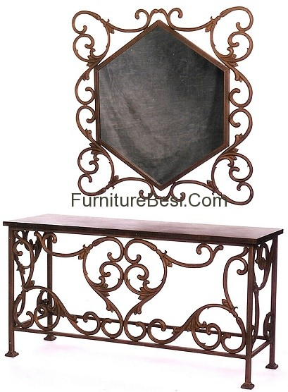 Console lorraine iron with mirror