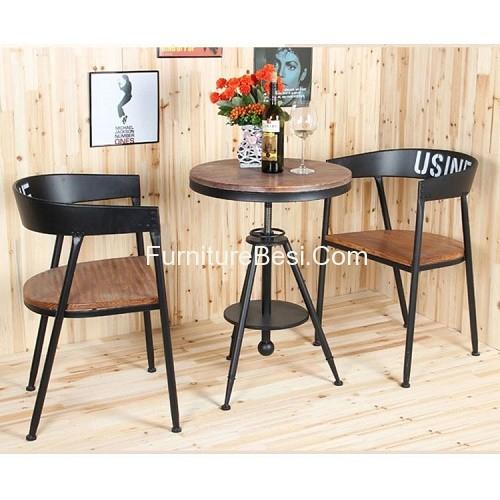 Creative fashion round tea table wood outdoor casual cafe tea shop