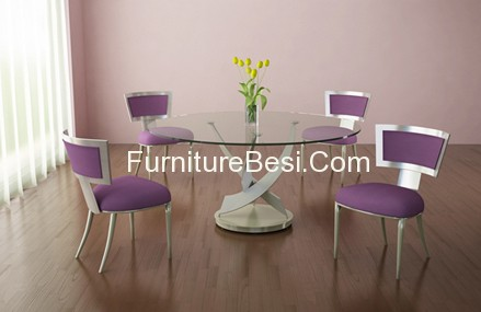 Elite modern round glass dining table and dining chairs