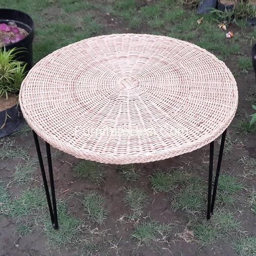 Raw Rattan Table Iron Legs Furniture