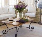 Rose Rattan Living Room Mixed Iron Table Furniture