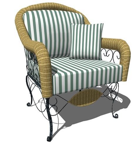 Sofa Besi Kombinasi Rotan