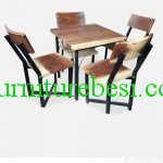 Wooden Top Iron Frame Dining Sets Meh